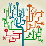 Tool a labyrinth. The tool on labyrinth branches. A vector illustration Stock Photos