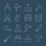 Tool line icon set Stock Photos
