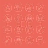 Tool line icon set Royalty Free Stock Photos