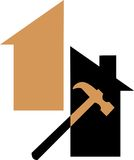 Tool logo. Cute illustrated logo design of house and carpentering tool Royalty Free Stock Photo