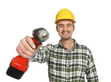 Tool of manual worker. Construction worker portrait wiht red drill in his hand Stock Photography
