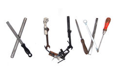 Tool mechanical as alphabet isolated Royalty Free Stock Image