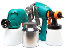 Tool for a painting of surfaces - spray gun electrical and manual mechanical Royalty Free Stock Photo