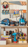 Tool rack. Workshop tool board with various hand tools for repairing and woodworking stock photo