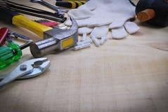 Tool renovation on  wood  table Stock Photos