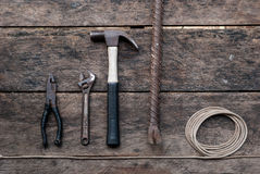 Tool renovation on wood table Royalty Free Stock Images