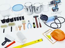 Tool for repairing an apartment. Preparation for repair. Tool for repairing an apartment. Diagonal royalty free stock images