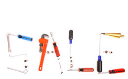 Tool Sale. Various tools forming the word sale royalty free stock photo