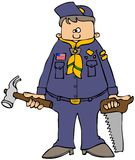 Tool scout. This illustration depicts a boy in a scouting uniform holding a hammer and saw Stock Photography