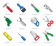Tool set. Icons isolated on white Royalty Free Stock Photography