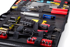 Tool Set. Black case with tools isolated over white background Royalty Free Stock Images