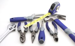 Tool Set. Hammer pliers adjustable driver measuring tape royalty free stock image
