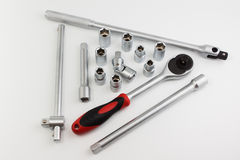 Tool set for car on white background Royalty Free Stock Images