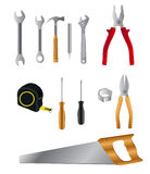 Tools. Tool set for construction Carpenter plumber isolated on white Royalty Free Stock Photos