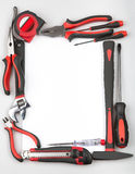 Tool set forming a frame on white background Stock Image