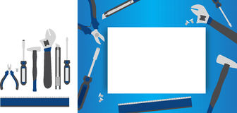 Tool set. Tool icon and frame photo vector illustration