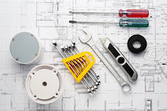 The Tool set and inlet necessary for swimming pool on plan stock photography