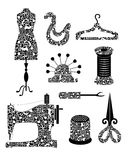Tool set in monochrome for sewing production  in vintage style. Tools for sewing production (dummy patterns, hangers, needle bar, pin, spool of thread, seam Stock Photos