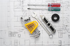 The Tool set necessary for repair home on plan Stock Image