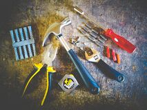 Tool Set on Plank Stock Image