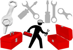 Tool Set Repair Work Person Objects Icons Stock Images
