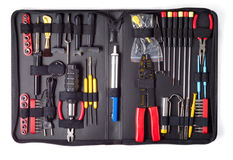 Tool Set ver.1. Black case with tools isolated over white background Stock Image