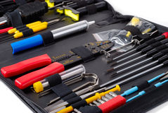 Tool Set ver.3. Black case with tools isolated over white background Royalty Free Stock Photography