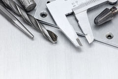 Tool set of vernier caliper and drills for house repair and cons Royalty Free Stock Image