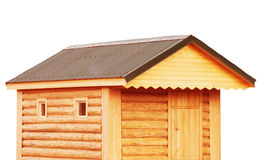 Tool shed, new log cabin to backyard or utility storage barn - r Royalty Free Stock Photo
