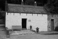 Tool Shed Old white stone barn building Ireland. In black and white Royalty Free Stock Photo