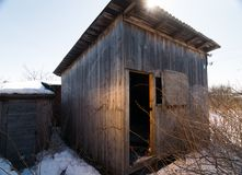 Tool shed. Wooden tool shed on a winter day Royalty Free Stock Photo