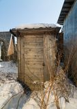 Tool shed. Wooden tool shed on a winter day Royalty Free Stock Photography