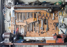 Tool shelf against a wall Stock Images