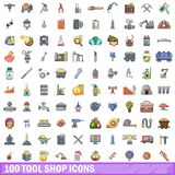 100 tool shop icons set, cartoon style. 100 tool shop icons set. Cartoon illustration of 100 tool shop vector icons isolated on white background Royalty Free Stock Photography