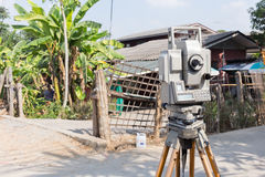 Tool of surveying measuring equipment level transit Royalty Free Stock Photo