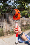 Tool of surveying measuring equipment level transit Royalty Free Stock Images