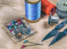 Tool tailor. closeup .. Photo in old image style Stock Image