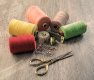 Tool tailor. Photo in old image style. Royalty Free Stock Images