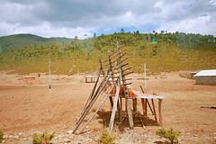 Shangri-La. A tool used by Tibetans to dry the herds of cattle and sheep Stock Photos