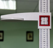 The tool used to measure the height. It is used in hospitals and clinics stock photo