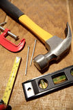 Tool on wood royalty free stock photos