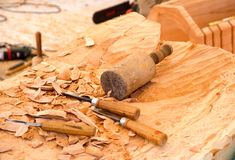 Tool for the wood carver. stock photos