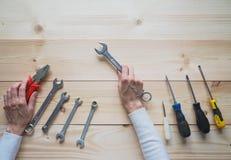 Tool on a wooden table. Tool on a wooden table Stock Photos