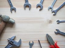 Tool on a wooden table. Tool on a wooden table Royalty Free Stock Image