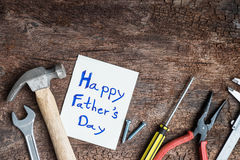 tool with word father day on paper Royalty Free Stock Photography