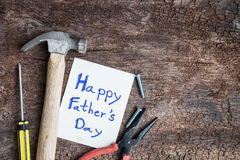 tool with word father day on paper Royalty Free Stock Images