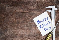 tool with word father day on paper Stock Image