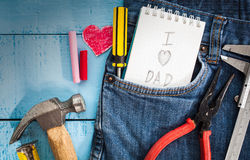 Tool with word happy father day. Paper on wood Stock Photo
