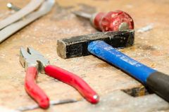 Tool, Work Bench, Hammer, Pliers Stock Photo