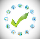 Tool working perfect concept. check mark approval Stock Images